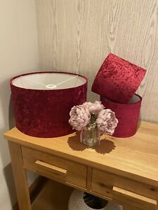 Handmade Lampshade in a magenta / red wine colour  velvet, ceiling or lamp