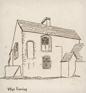 WILLIAM CLEVERLY ALEXANDER Small Pen & Ink Drawing WEST TARRING - ARCHITECTURE