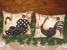 Set of 2 Country Rooster Chicken fabric shelf sitters Farmhouse Wall Home Decor