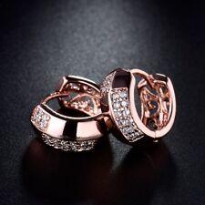 18K Rose Gold Filled Topaz Crystal Elegant Pierced CZ Hoop Earrings For Women