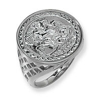 St George Coin Ring Men's Gents Solid Sterling Silver