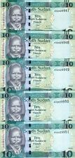 LOT South Sudan, 5 x 10 Pounds, 2016, P-New, New date, New Sig. UNC