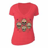 Sugar Skull Day of the Dead Shirt Mexican Flower Dia Los Muertos Tshirt Red