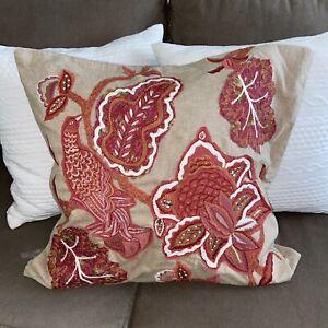Pottery Barn Bird Floral Embroidered Crewel European Pillow Sham 24 x 24