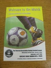 02/04/2014 Thurrock Sunday League Division 3 Cup Final: Queens Park Ramblers v T