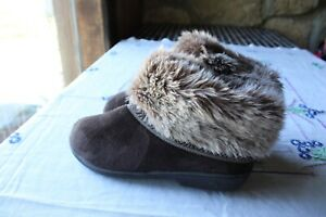 Isotoner Slippers Women's Size 7.5-8 Women's Fur Brown Perfect LN No Wear Nice