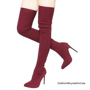 SEXY Burgundy Pointy Toe Stretch Ponte Stiletto Heel Over Knee Thigh High Boots