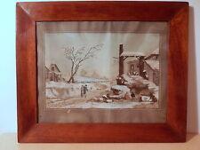 Gravure ancienne début XIX 19 siecle réhaussée 1 gouache aquarelle hivers neige