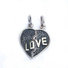 Solid Love broken Hearts two piece Charm Pendant