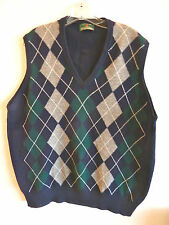 The Scotch House Argyle Sweater Vest Made in Scotland Lambswool 46