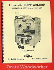 DOALL Butt Welder DBW #10 Operator's and Parts Manual 0273