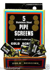 50 pc Pipe Tobacco Smoke Smoking Screens Wallet Pk Stainless Steel Gold