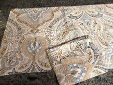 "TAHARI Home King Pillow Sham PAIR BeigeGray  Blue Paisley 39.5"" X 24"""
