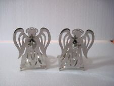 """Lot of two silver plated angel votive candle holders, 5"""" X 3.5"""""""