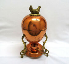 Rustic Tagus Portugal Copper & Brass Egg Warmer Coddler Holder ~ Chicken Finial