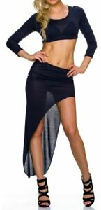 SeXy Miss Damen 2 Teiler Girly Trend Bauchfrei Shirt high low Rock 32/34/36/38