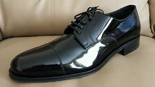 SALVATORE FERRAGAMO MEN'S CAPTOE Patent LEATHER Oxfords  Black LACE Size 10,5 D