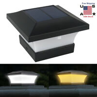 Solar Post Deck Cap Fence LED Lights Garden Yard Warm/White Square Lamp Outdoor