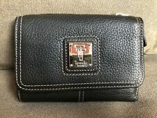 "Tignanello Women's Wallet Bifold 5""x 4"" Black Pebbled Leather Natural Stitching"