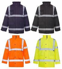 NEW MENS SECURITY HI VIZ VIS WATERPROOF COAT PADDED HOODED WORK JACKET