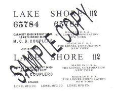 65784 LAKE SHORE Gondola Waterslide handmade Decals for the Prewar Gondola