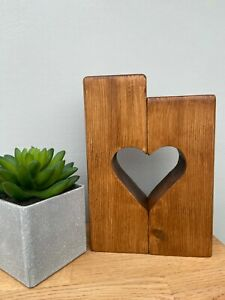 Tea light candle heart wooden Holder handmade Gift