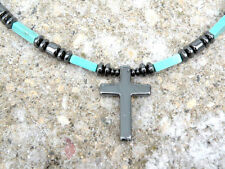 Magnetic CHALK TURQUOISE CROSS Pendant Men's Women's Healing Necklace AAA+