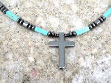 Magnetic CHALK TURQUOISE CROSS Pendant Men's Women's Healing Necklace AAA+