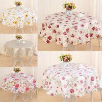 Wipe Clean Vinyl PVC Floral Tablecloth Dining Kitchen Table Cover Round US