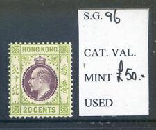Hong Kong 1907-11 20c purple & green mint lightly hinged (2019/02/12#06)