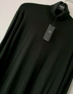 MENS M&S SIZE 2XL 47-49 CHEST GREEN SOFT ROLL NECK COTTON RICH JUMPER FREE POST