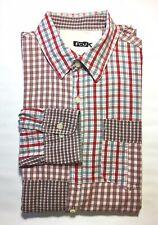 FCUK Men's Long Sleeve Button Down Shirt Red Grey Plaid M