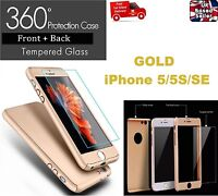 New Luxury 360° Full Hybrid Case Cover + Tempered Glass for iPhone 5/5S/SE GOLD