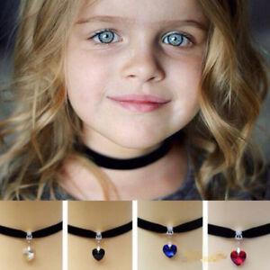 Children Kid Black Chocker Choker Trendy Heart Collar Necklace Fashion Jewellery