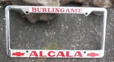 Vintage  License Plate   Frame Dealer ALCALA Chevrolet  Burlingame