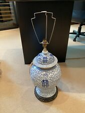 More details for stunning large antique blue and white lamp