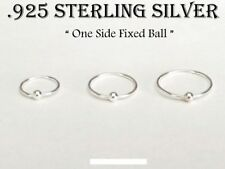 22G Sterling Silver Captive Bead Ring One Side Fixed Ball Nose Hoop Nose Ring