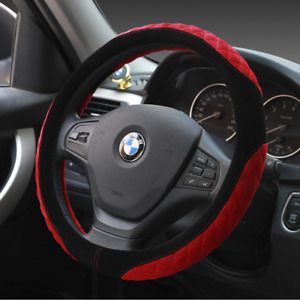 UKNEST COTTON RED&BLACK STEERING WHEEL COVER GLOVE FOR UNIVERSAL CARS
