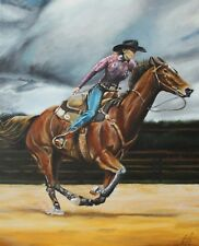 #western #art #painting #horse #action #cowboy #cowgirl #galloping hand painted