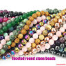 "faceted round natural gemstone 4mm 6mm 8mm 10mm spacer beads strand 15.5"" DIY"