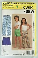 Kwik Sew 3589 Sewing Pattern Boys Girls Sleep Pants Shorts Sizes 6 - 10 UNCUT