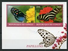 Congo 2018 CTO Butterflies 2v M/S Papillons Butterfly Insects Stamps