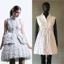 ALAÏA MUSEUM QUALITY ALAIA COTTON POPLIN RUCHED WHITE DRESS SIZE FR 38 US S-M