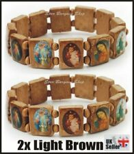 2x LIGHT BROWN Wooden Elasticated Saints Bracelet Jesus Wristband Religious