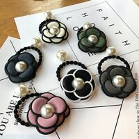 Women Camellia Flower Pearl Ponytail Holder Hair Band Tie Elastic Rope Ring Hair