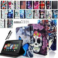 "For Amazon Kindle Fire 7"" 8"" 8.9"" 10""Tablet - FOLIO LEATHER STAND CASE COVER+Pen"