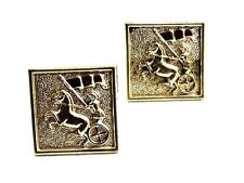 True Vintage Greek / Roman Warrior In Chariot Cufflinks By SWANK 102414