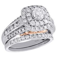 14K or Blanc Solitaire Diamant Set Mariage Fiançailles Bague + Bande 2 CT