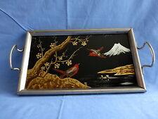 plateau de service,bois,métal,verre,décor volcan,oiseaux