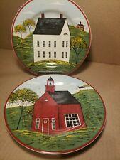 "Set Of 2 Warren Kimble Sakura Country Life 8"" Plates House & School House"